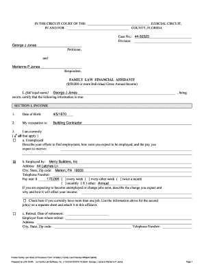 13 Printable Financial Affidavit Form Florida Templates Fillable