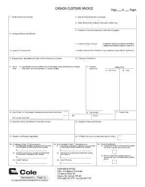 Canada customs invoice fillable form