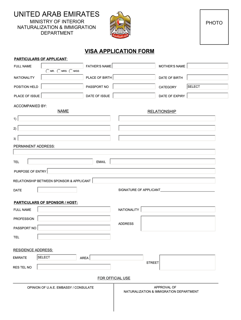Dubai Visa Application Form Fill Online Printable Fillable Blank Pdffiller