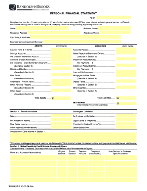 rbfcu personal financial statement form