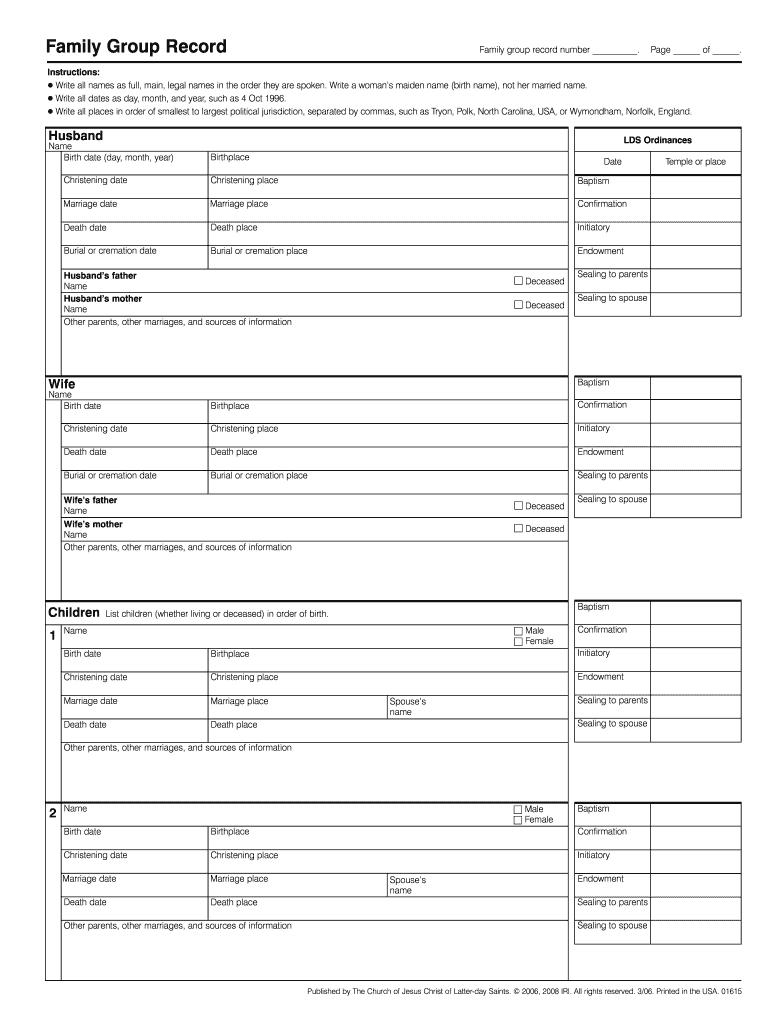 Family Group Sheet Lds Fill Online Printable Fillable Blank Pdffiller