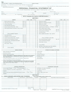 personal financial statement ps 15 form