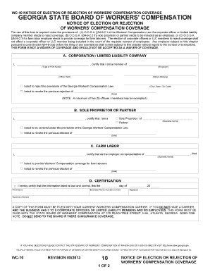 2012 Form GA WC-10 Fill Online, Printable, Fillable, Blank - PDFfiller