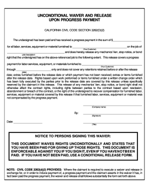 San Francisco Superior Court Unconditional Waiver And Release ...