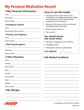 personal medication record fill online printable fillable blank