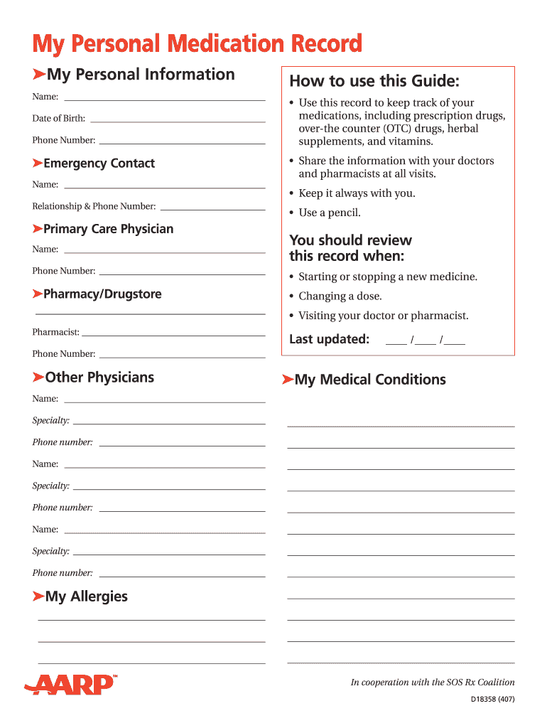 Personal Medication Record Fill Online Printable