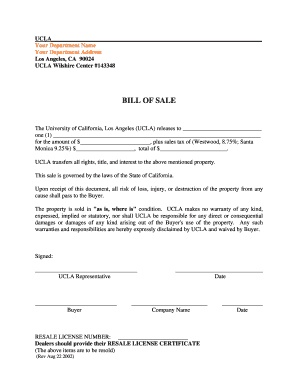 bill of sale for equipment