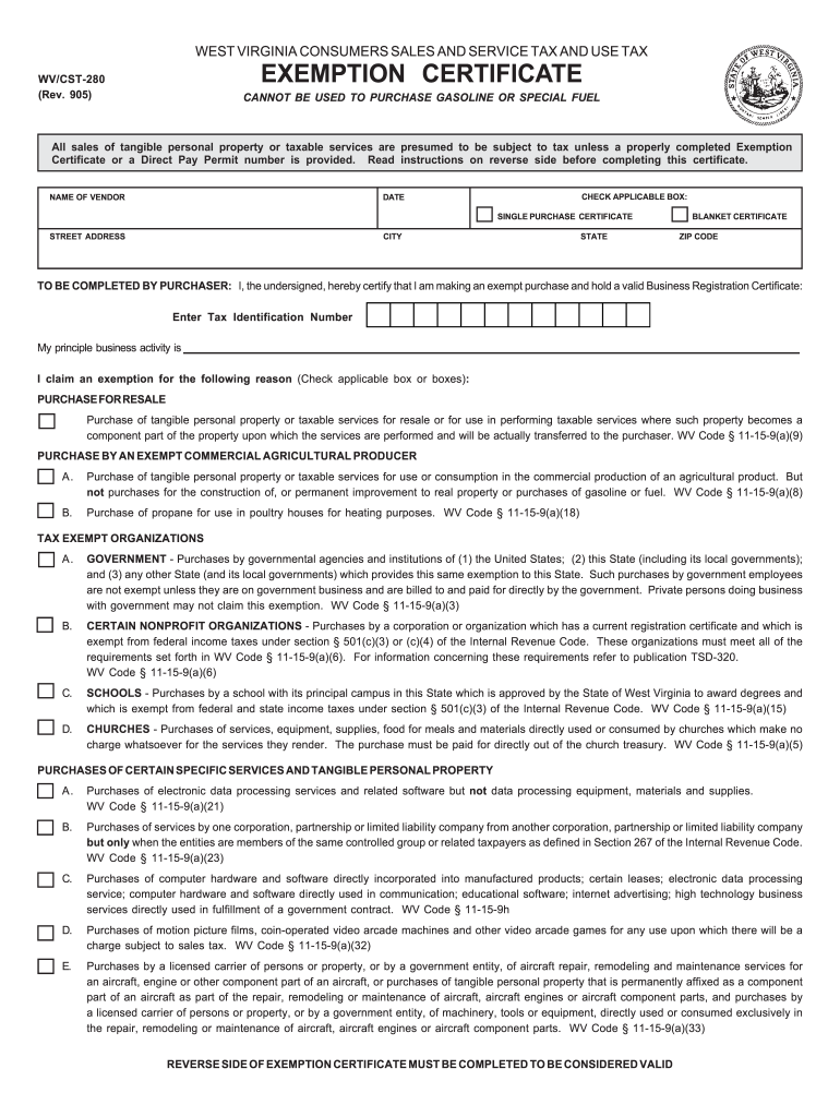Wv Tax Exempt Form - Fill Online, Printable, Fillable, Blank | PDFfiller