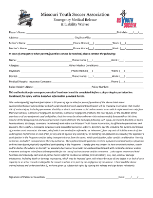 Soccer Waiver - Fill Online, Printable, Fillable, Blank | PDFfiller