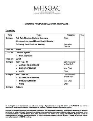 Proposed Meeting agenda template. Proposed Meeting agenda template