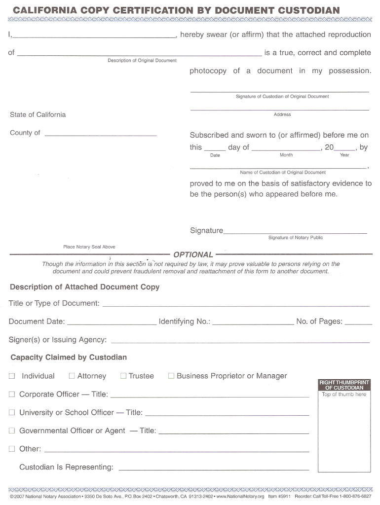 copy document custodian certification form forms template legal printable state
