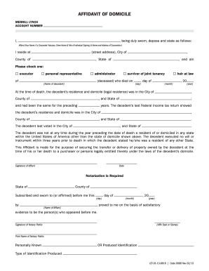 merrill lynch affidavit of domicile form