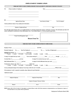 Employment Verification Form  Prior Employment Verification Form