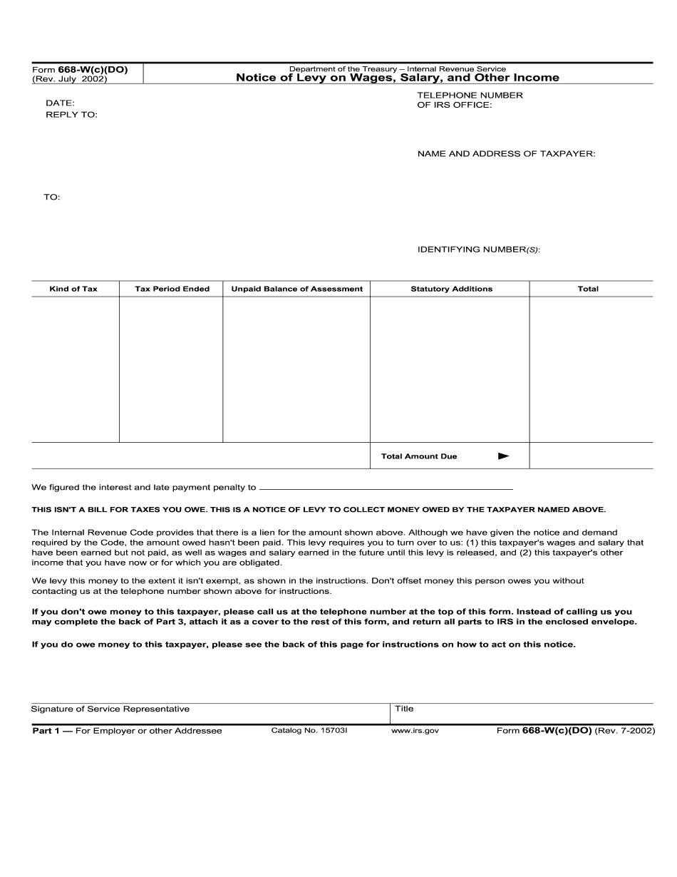form 668 w c do instructions