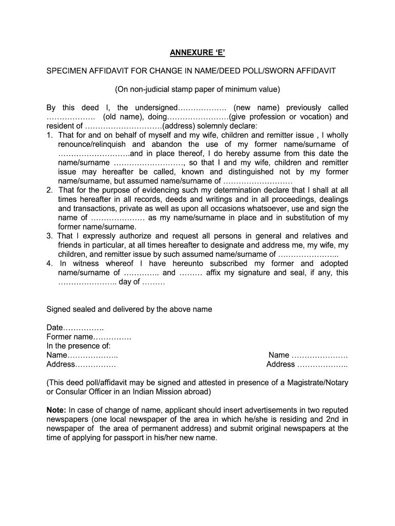 Specimen Affidavit for Change in Name/Deed Poll/Sworn Affidavit - Complete  Legal Document Online | US Legal Forms