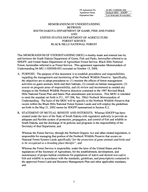 Memorandum of Understanding Template 10/30/02. Template w/clauses from 10/30/02 with OGC recommendation clauses - fs usda