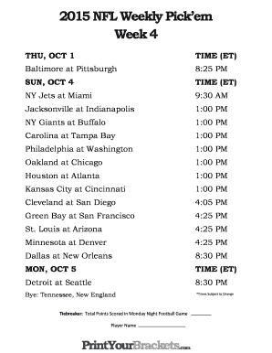 picture regarding Nfl Week 4 Schedule Printable referred to as Print Your Brackets - Fill On-line, Printable, Fillable