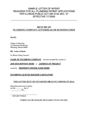SAMPLE LETTER OF INTENT FOR ALL PLUMBING PERMITS - wheelingil