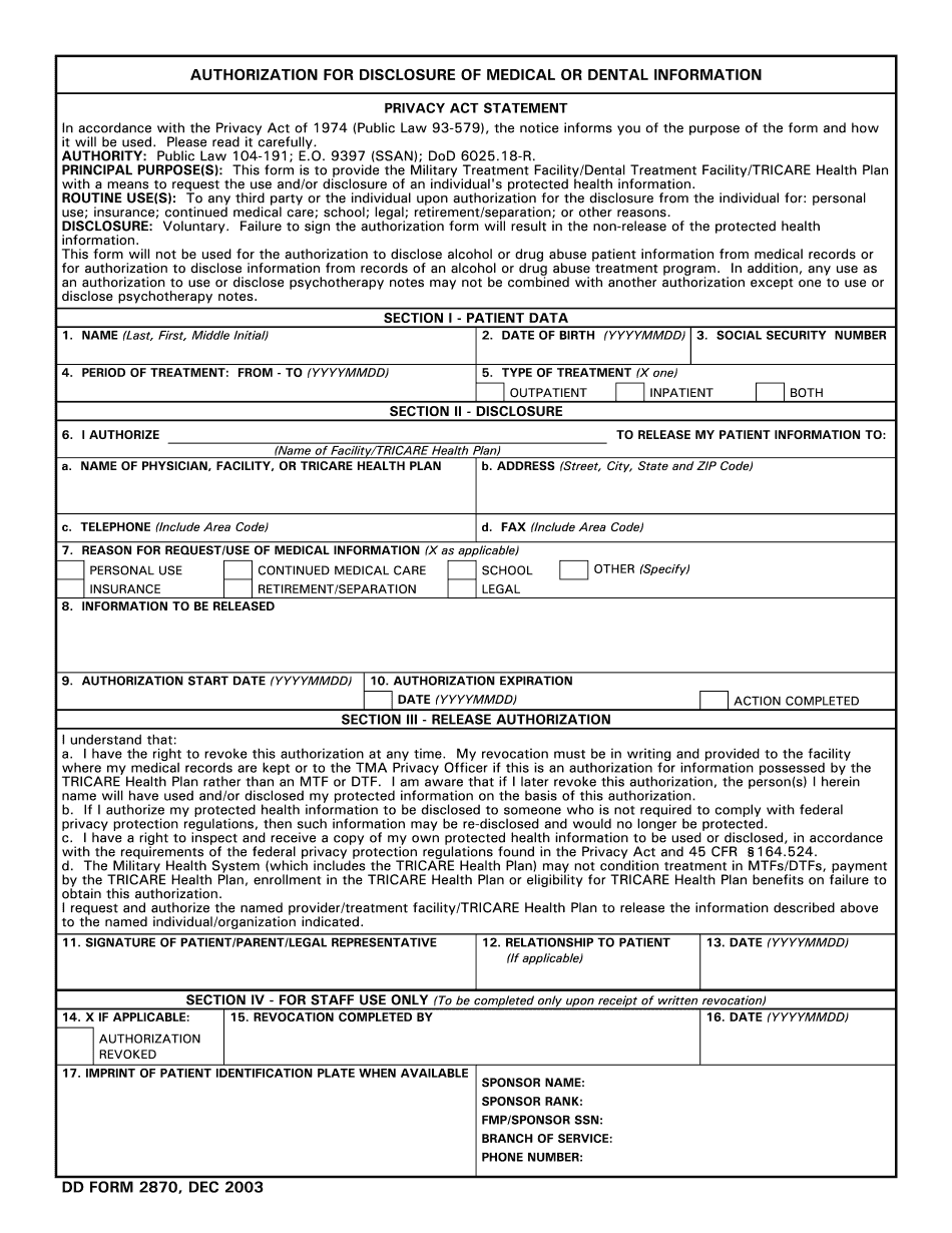 Form Dd 2870 Fill Out Printable Pdf And Word Sample