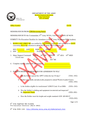 Department of the army example office symbols fill for Dd form 714 template