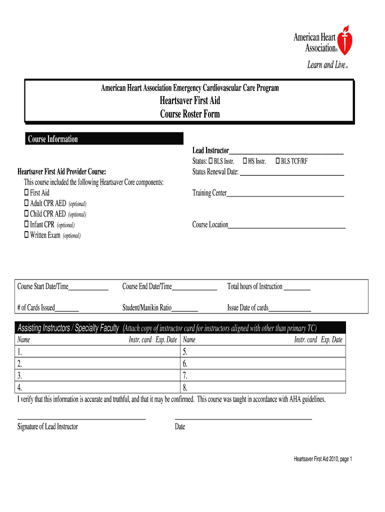 Heartsaver Instr - Fill Online, Printable, Fillable, Blank  pdfFiller With Cpr Card Template