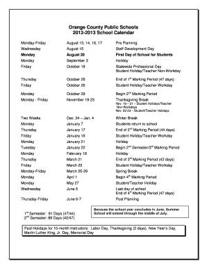 Orange County Florida School Calendar Fill Online Printable