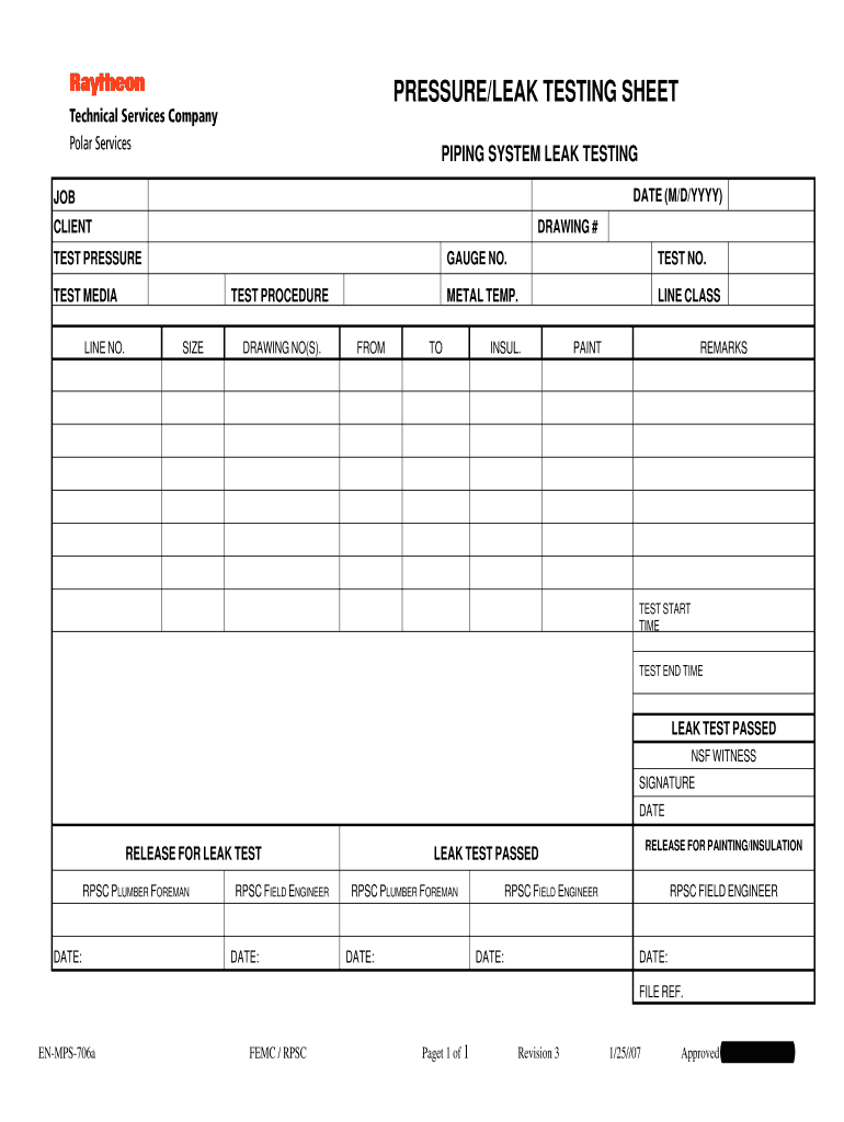 Pressure Testing Form Fill Online Printable Fillable
