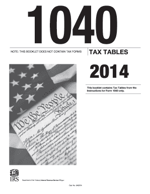 2014 tax table form