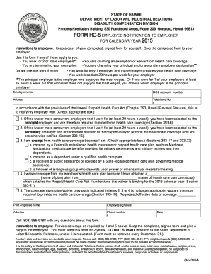 FORM HC5 EMPLOYEE NOTIFICATION TO EMPLOYER