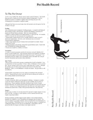 fillable online shsu pet health record shsu fax email print