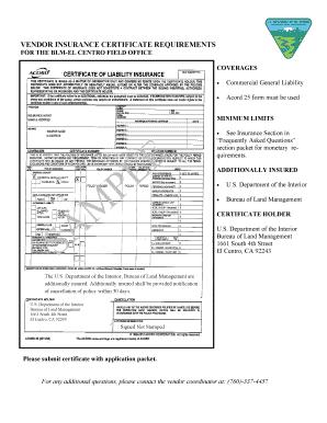 Fillable Online blm Vendor insurance certificate ...