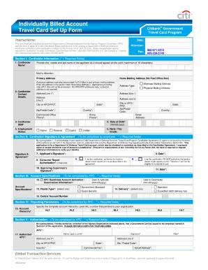 Individually Billed Account Travel Card Setup Form Citibank