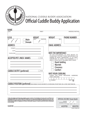 cuddle buddy applications  Cuddle Buddy Application - Fill Online, Printable, Fillable, Blank ...
