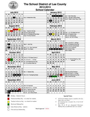 Gwinnett County Public Schools Calendar 2012 13 Fill Online