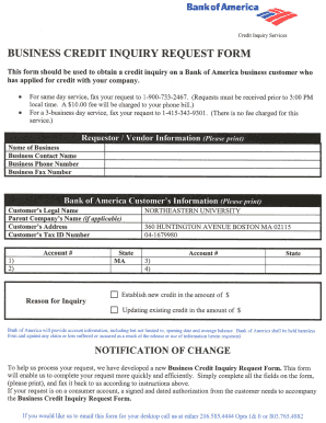 Business Credit Inquiry Request Form - Fill Online, Printable ...