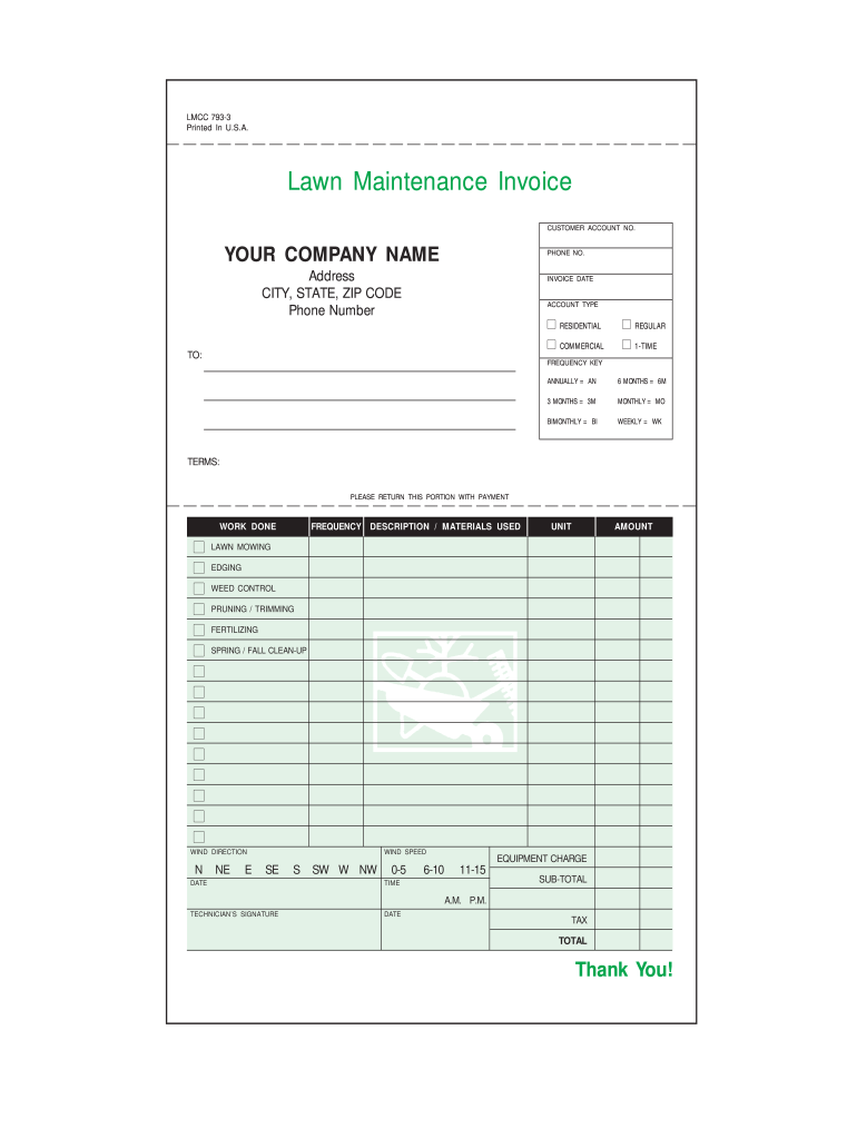 Lawn Care Invoice Fill Online Printable Fillable Blank Pdffiller