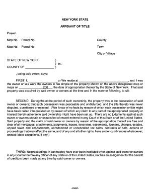 Fillable Online oag state ny AFFIDAVIT OF TITLE AND POSSESSION ...