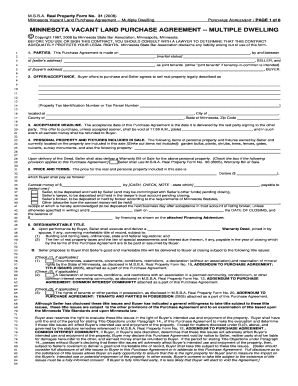 purchase agreement template mn  Land Purchase Agreement Forms and Templates - Fillable