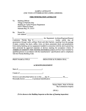 SAMPLE AFFIDAVIT USE YOUR LETTERHEAD INCLUDING - palmettobay-fl