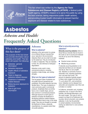 Asbestos and Health: Frequently Asked Questions - Agency for ... - atsdr cdc