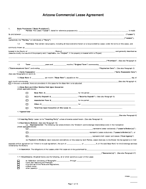 Arizona Commercial Lease Agreement Template   Rental Lease .  Editable Lease Agreement Template