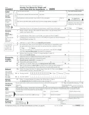 2009 1040ez tax form