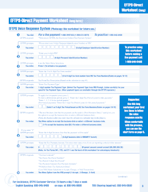 Fillable Online hws EFTPS-Direct Payment Worksheet - hws Fax Email ...