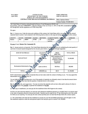 example mineral material contract form