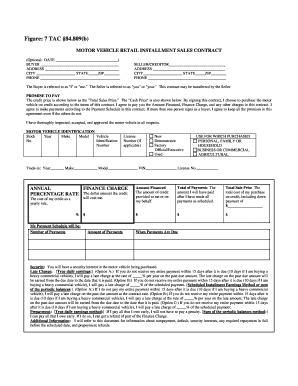 Vehicle Installment Contract Fill Online Printable