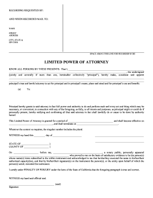 Limited Power Of Attorney California Fillable Form