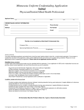 minnesota uniform credentialing application Mn Uniform Credentialing Application 2007 - Fill Online, Printable ...