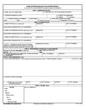 2010-2018 Form DA 7223 Fill Online, Printable, Fillable, Blank - PDFfiller