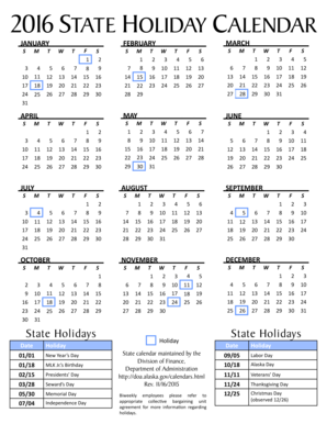 fillable online doa alaska 2016 state holiday calendar doa alaska