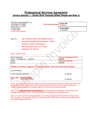 Invoice Sample 1  Single Work Package Billed (Please see Note 2)